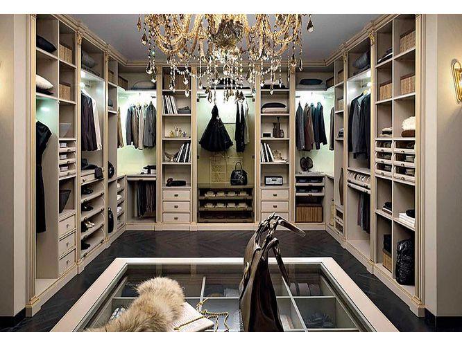 П-образная гардеробная Шарм в классическом стиле