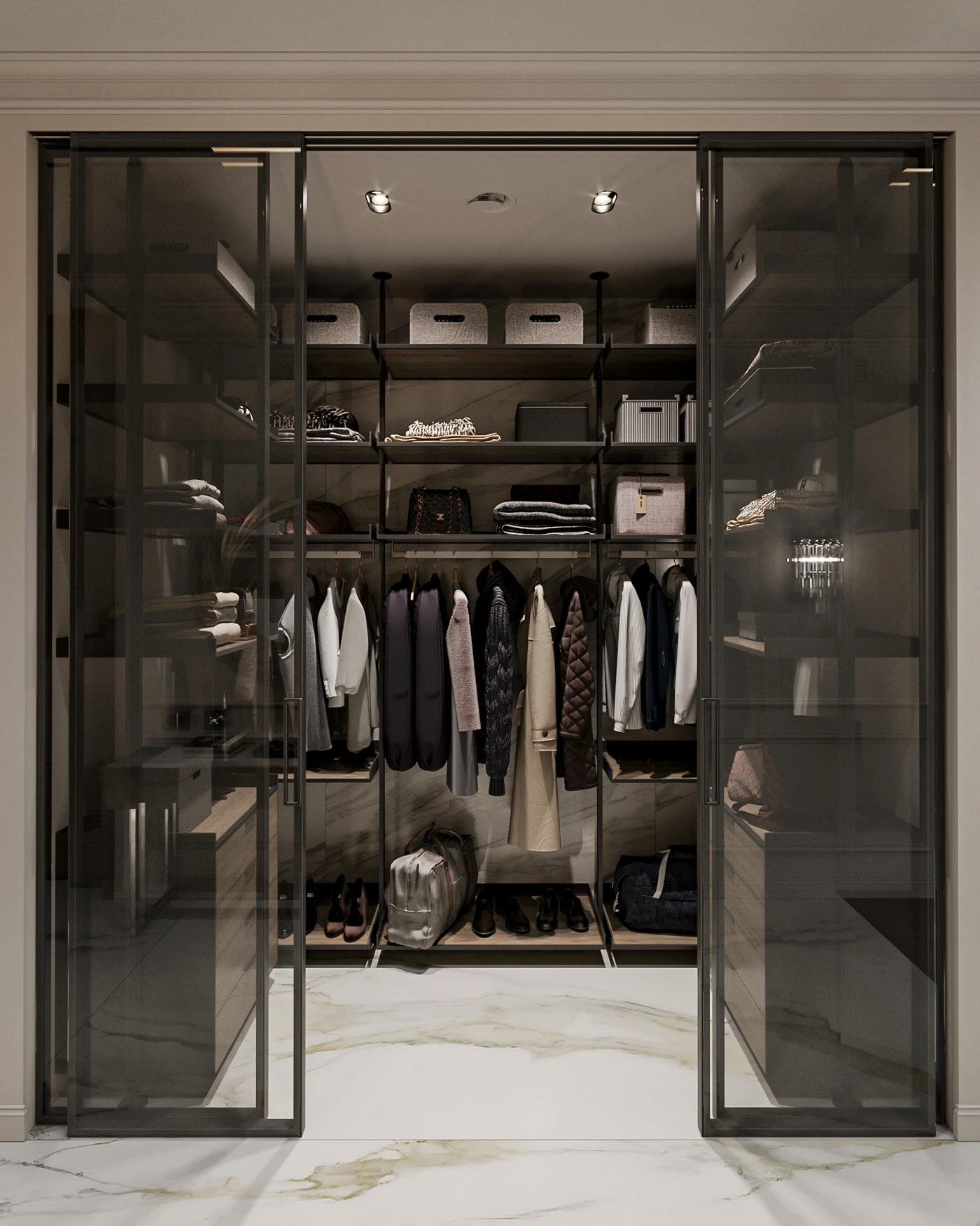 П-образная гардеробная  Модис в современном стиле