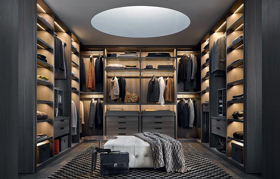 П-образная гардеробная Реквизит в классическом стиле